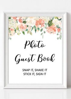 Polaroid guest book sign printable wedding photo guest book signs, floral wedding ideas from Pink Summer Designs on Etsy