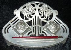 Art Nouveau; Antiek gietijzeren inktstel - ca.1915