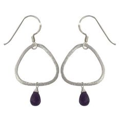 Amazon.com: Amethyst Drop-Earrings Sterling Silver Jewelry 2 inches: ShalinCraft: Jewelry