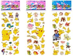 - 3 Individually packaged sticker sheets. Ready for gift giving. - Each theme may have several styles. 3 sheets selected randomly. - Pikachu Pokemon Puffy Stickers are perfect for scrapbooking, themed