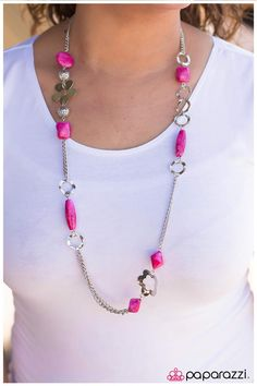 Bold pink beads swirled in a rock-like finish combine with airy floral discs, wavy silver discs, and sections of classic silver chain to create an adorable design.  Sold as one individual necklace. Includes one pair of matching earrings.