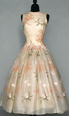 NORELL EMBROIDERED WHITE PARTY DRESS, c. 1954