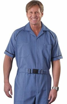 An excellent choice for fall and winter months. Trimmed with contrast color piping on the chest and sleeve cuffs. Fully adjustable non-metallic nylon buckle. This fabric is a medium weight stretch denim. 50% cotton
