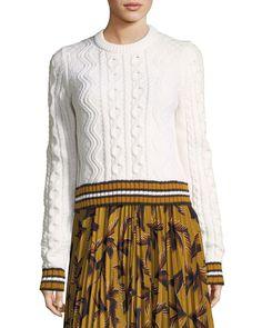 A.L.C. Alpha Crewneck Cable-Knit Sweater