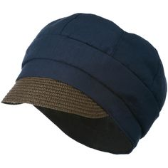Women's Paper Straw Brim Crushable Cabbie Hat - Navy