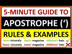 This video explains the usage of Apostrophe with examples. english grammar, grammar for kids, punctuation marks, grammar for studen. Apostrophe English, English Grammar For Kids, Yours Sincerely, Fluent English, Grammar Lessons, Male Magazine, Punctuation, Communication Skills