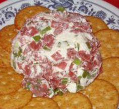 Dried  Beef Cheese Ball.  (YOU CAN NEVER GO WRONG WITH THIS CHEESEBALL....THEY ALWAYS ASK IF I'M MAKING IT) I use the Buddig Beef in the lunchmeat section...Yumm