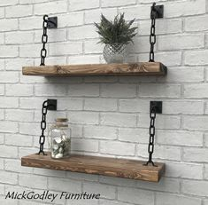 Rustic Handmade Solid Black Steel Chain Floating Shelves - Rustic Handmade Solid Steel Chain Shelves Solid Wood All Of Our Shelves Are Natural Solid Pine Every Rustic Shelf Made In Our Workshop Is Unique In Its Look Made From Hand Selected Reclaimed Tim Wall Decor Design, Rustic Shelves, Barn Wood Shelves, Industrial Shelving Diy, Hanging Shelves, Quality Furniture, Wood Furniture, Bespoke Furniture, Furniture Ads