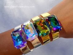 Sahara Swarovski Crystal Cuff Statement Bracelet, Big Boho Chic Green Crystal Pageant Bracelet, Gift For Her, Glitter Fusion Unisex Jewelry