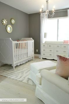 Pink & Gray Nursery with 'Benjamin Moore Chelsea Gray' wall color