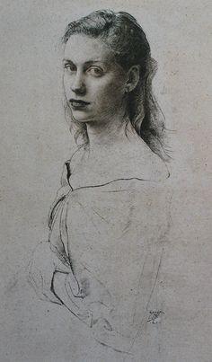 Pietro Annigoni (Italian, 1910-1988), female portrait drawing #arthistory