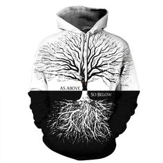 Tree Print Thick Hoodies White Black Patchwork Hooded Sweatshirts Full Sleeves Pullover Coats Tracksuits as show XXL Thick Hoodies, Cool Hoodies, Printed Sweatshirts, Hooded Sweatshirts, Legging Court, Pull Long, Oversized Pullover, Robes Vintage, Mini Robes