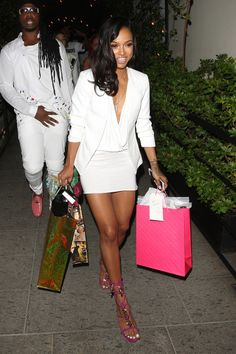 a3ab16b65a Karrueche  White blazer with a white dress