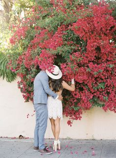 Beautiful bougainvillea for the win! | Photography : Jen Huang Read More on SMP: http://www.stylemepretty.com/california-weddings/santa-barbara/2016/07/09/fashion-forward-garden-engagement/
