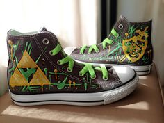 0a650ae64cd0 Custom Made Legend of Zelda (Graffiti Style) Converse Sneakers on Etsy