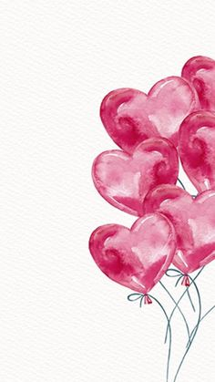 I Heart Valentines Day Balloon Hearts Water Color Art