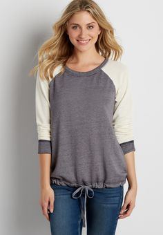 burnwash pullover sweatshirt with drawstring hem (original price, $29.00) available at #Maurices