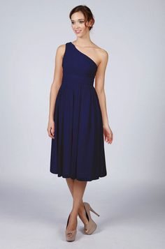 Beautiful Navy Blue One Shoulder Knee Length Bridesmaid/Prom Dress with matching items available by Matchimony on Etsy https://www.etsy.com/listing/221795148/beautiful-navy-blue-one-shoulder-knee