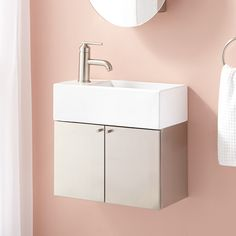 "19"" Showcase Series Stainless Steel Wall-Hung Vanity - Two Doors - Brushed Stainless Steel"