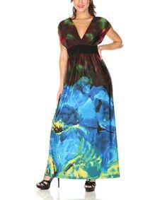 Another great find on #zulily! Black Floral Short-Sleeve Surplice Maxi Dress - Women by Radzoli #zulilyfinds