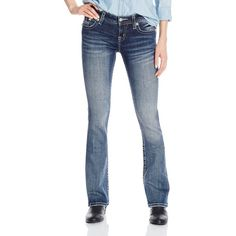 Miss Me Junior's Mid Rise Bootcut Jean with Embellishments ($80) ❤ liked on Polyvore featuring jeans, mid-rise jeans, embellish jeans, boot cut jeans, bootcut jeans and blue jeans
