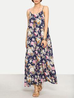 Vestido floral tirante fino maxi -multicolor-Spanish SheIn(Sheinside)