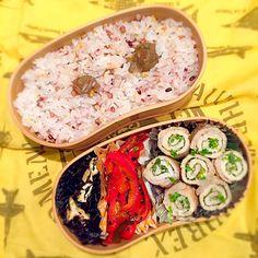 今日のお弁当は豚の紫蘇巻きと赤ピーマンとキュウリのキンピラ、生ひじき煮。 by rina matsunaga at 2015-05-28