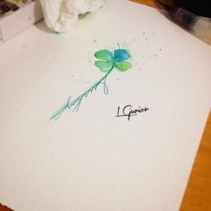 4 leaf clover watercolor tattoo - Google Search