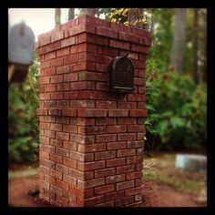 Brick Mailbox with Scratch Joint Brick Mailbox, New Mailbox, Mailbox Ideas, Brick And Stone, Stone Work, Alaska House, Mailbox Makeover, Driveway Entrance, Driveway Landscaping