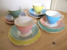 Pretty Pastels Colclough Fine Bone China Tea Set