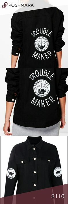 World Peace Size 10 oversized* Everyone must be ! ...good! :) Nwt size 10 oversized trouble maker black denim jacket with an oversize fit for 10 as designed, though it can fit 12/14 formed fit too! Measures: 22.5 chest, 25.5 length, 20.5 shoulders. FIRM PRICE! DONT ASK PLEASE, SOLD OUT BOUTIQUE THIS SZE. Jackets & Coats Jean Jackets