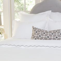 Great site for designer bedding | The Linden White Border Duvet Cover | Crane and Canopy