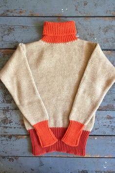 Nigel Cabourn George Lowe Roll Neck Sweater Beige and Orange Wool