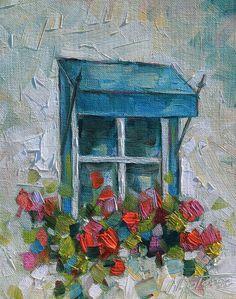 Verano en la ventana.  Original pintura al óleo sobre tablero de yeso. // Summer on the window. Original oil painting on drywall.