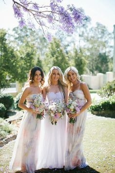 {Wedding Trends} : Floral Bridesmaid Dresses ~ Photographer: Bek Grace | bellethemagazine.com
