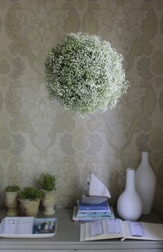 me oh my!: Baby's Breath Chandelier :: good decor idea for a baby shower or bridal shower!