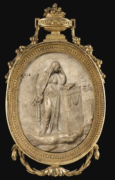 GERMAN - EARLY 18TH CENTURY ALABASTER ALLEGORICAL MEDALLION IN HIGHT RELIEF OF SAPIENZIA ; IN RICHLY DECORATED GILTWOOD FRAME