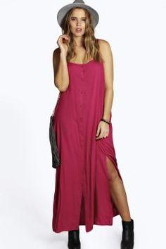 Plus Lucy Button Through Cami Maxi Dress at boohoo.com