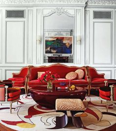 Wow - the coffee table in RED. in Elle Decor - Interior Designer Robert Couturier Decorates a Manhattan Apartment Living Room Red, Living Room Decor, Living Spaces, Elle Decor, Living Room Interior, Interior Design Living Room, Architecture Design, Pretty Room, Decoration
