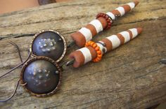Striped Spike Earrings with Copper  by annamei on Etsy, $38.00