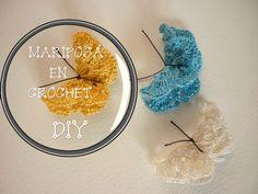 Manualidades: CROCHET (Mariposa- muy fácil)DIY - CROCHET (Mariposa- very...