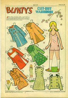 March 1969 UK/England Weekly Printing of a Folded Sheet Paper Toys, Paper Crafts, Paper Dolls Printable, Vintage Paper Dolls, Retro Toys, Free Paper, Art Pages, Craft Kits, Cartoon Styles