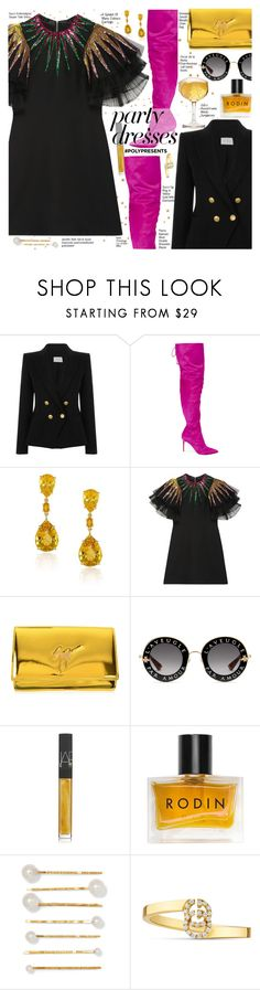 """#PolyPresents: Party Dresses"" by voguefashion101 ❤ liked on Polyvore featuring Pierre Balmain, Oscar de la Renta, Gucci, Giuseppe Zanotti, NARS Cosmetics, Rodin and Jennifer Behr"