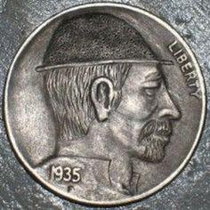 DAVID JONES HOBO NICKEL - 1935 BUFFALO PROFILE. Hobo Nickel, David Jones, Buffalo, Carving, Profile, User Profile, Wood Carvings, Sculptures, Printmaking