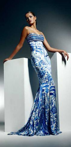 Evening gown, couture, evening dresses, formal and elegant Zuhair Murad Zuhair Murad, Beautiful Gowns, Beautiful Outfits, Gorgeous Dress, Pretty Dresses, Blue Dresses, Long Dresses, Runway Fashion, High Fashion