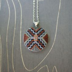 Spider Modern geometric cross stitch necklace/ pendant