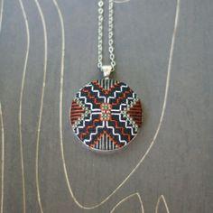 Spider Modern geometric cross stitch necklace/ pendant