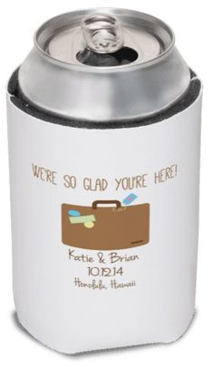 Destination Wedding Favor Can Coolers by yourethatgirldesigns, wedding welcome gifts, www.yourethatgirldesigns.com