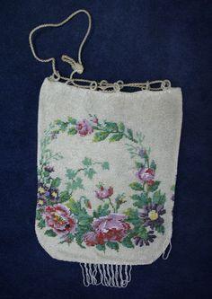 ANTIQUE VICTORIAN Micro beaded PURSE Elegant Floral Drawstring Bag - REPAIRS #Drawstring