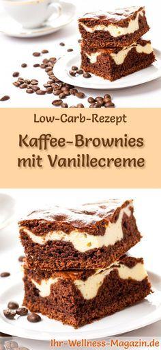 Rezept für Low Carb Kaffee-Brownies mit Vanillecreme: Der kohlenhydratarme, kalorienreduzierte Kuchen wird ohne Zucker und Getreidemehl zubereitet ... #lowcarb #kuchen #backen